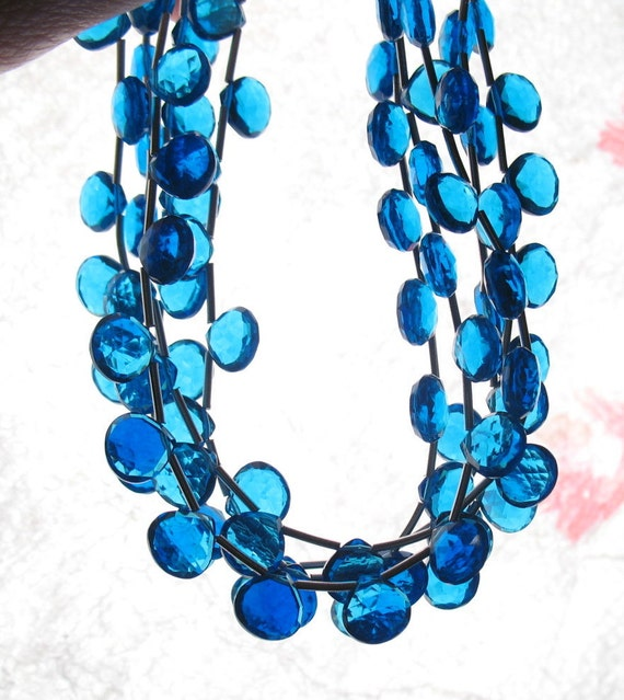 London Blue Quartz Faceted Briolette Beads 1/2 Strand