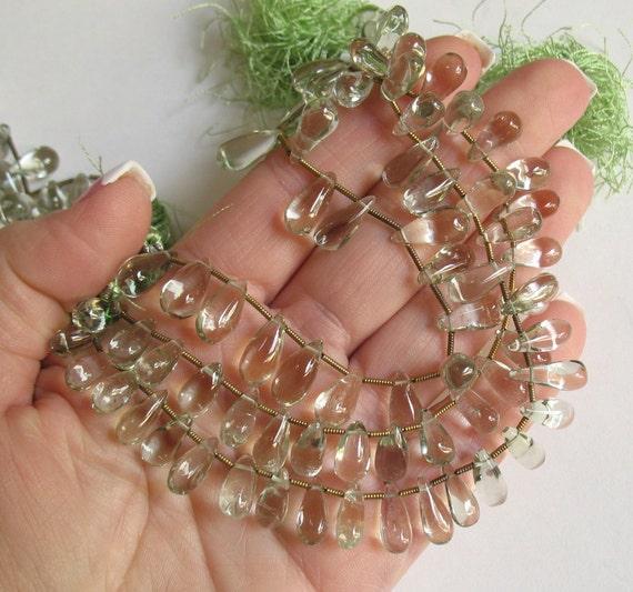 Long Prasiolite Green Amethyst Briolette Beads 8 Inches