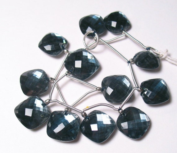 Extreme Flash And Reflective Topaz Hematite  Doublet Briolette Beads Cushion Perfect Earring Pair