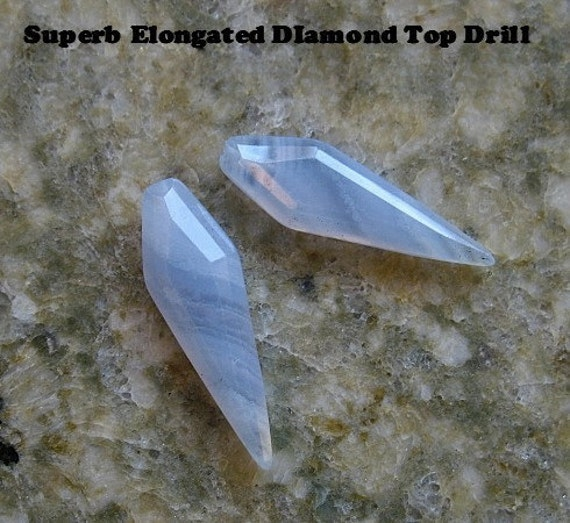 New Elongated Diamond Blue Lace Agate Half Drill Briolette Beads