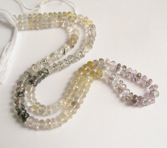 Tour Of Rutilated Quartz Moss Amethyst Black And Golden Stripey Gemstone Sparkling ROndelle Beads 1/2 Strand
