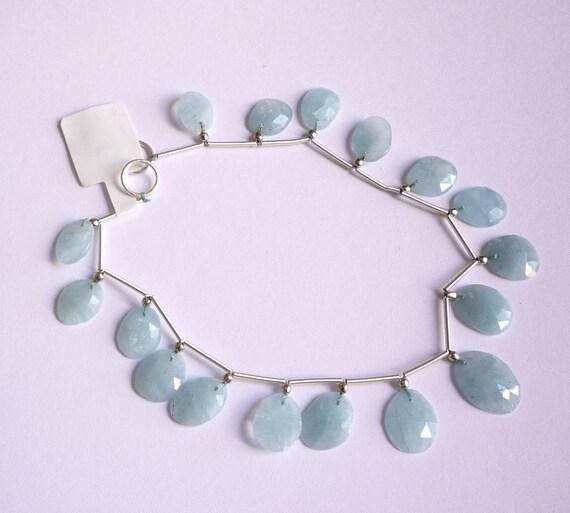 SALE  Lovely Brazilian Aquamarine Rose Cut Briolette Beads