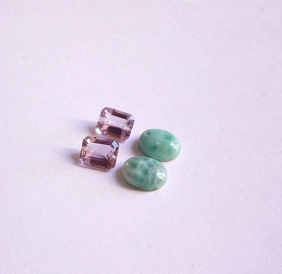 Pristine Pink Amethyst Larimar Connector Earring Briolette Bead Set Super Quality