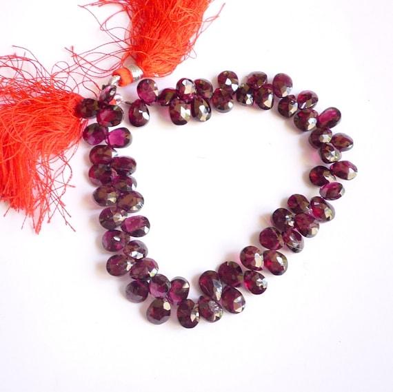 Super Quality Bright Rhodolite Garnet Pear Briolette Beads