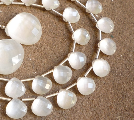 Capture The Moon GLOWING  Rock Crystal MOP Doublet Briolettes 1/2 Strand