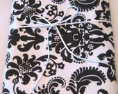 Black and White Damask Swaddler Set/Burp Cloth