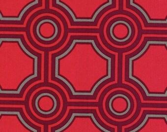 SALE Joel Dewberry - Home Decor Fabric - Ginseng - Square Tiles HDJD09 Raspberry