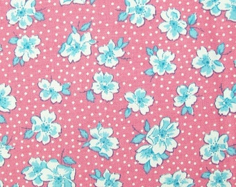 1930's  vintage inspired cotton fabric - Wood Rose TT5717 Pink - Sweet Pea by Karen Snyder for Timeless Treasures - by the half yard