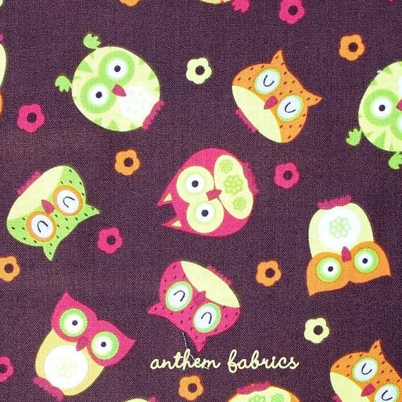NEW Timeless Treasures Apple Line - Tossed Owls TT5707 Brown - One Yard