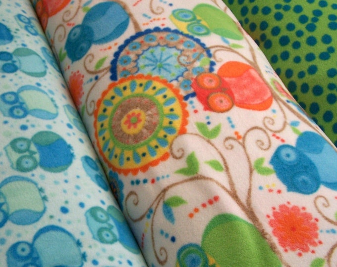 Micro-fleece fabric - Della by Valori Wells - Wide width Owl and Dot prints - 1 yard set of 3