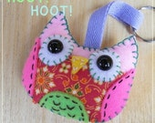 Colorful Owl Plush Keychain