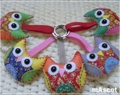 Colorful Owl Plush Keychain - 5 PIECES