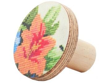 Flower knobs, dresser knobs and pulls, decorative knobs, furniture handles, wooden cabinet knobs, kitchen cupboard handles, orange flower