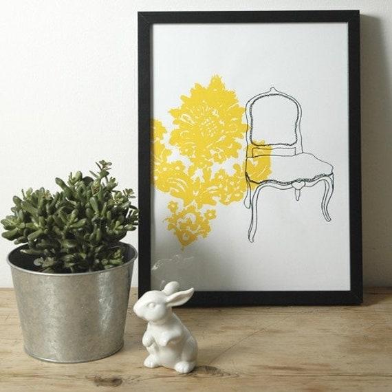 Hand screen art print -  Yellow Chair design