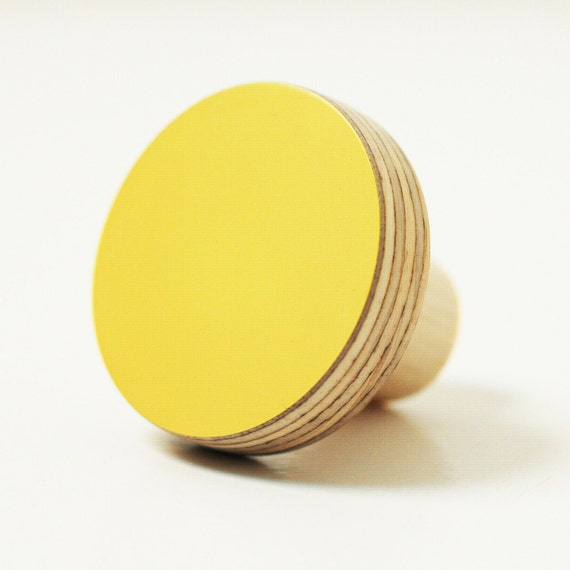 Wooden wall hooks yellow color