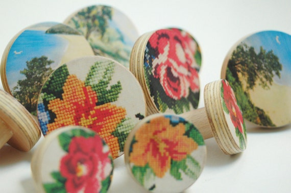 modflowers: wooden knobs by chocolate creative on Etsy