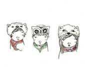 Three Animal Hats - Art Print - Children's Room Decor