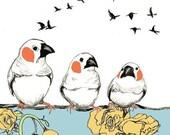Bird Drawing - Birdie Talk - Bird Art Print