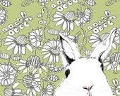 White Rabbit Art  - Where's Alice Green Wallpaper - Rabbit Art