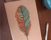 Free Shipping - Hand Illustrated Journal. Write On. Large Moleskin Notebook. Feather Drawing.