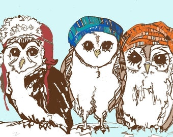 Owl Art Print - Owls Love Hats