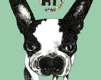 Dog Art Card,Dog Card, Boston Terrier Card, Gift Card, Bulldog Note Cards - Set of Six - Dog Art