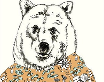 Bears Love Floral Dresses - Bear Art  - Bear Illustration