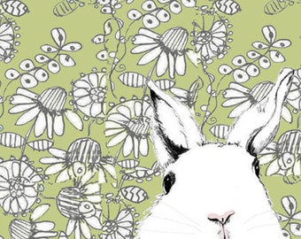 White Rabbit Art  - Where's Alice Green Wallpaper - Rabbit Art