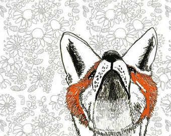 Fox Art Print - Falling Flowers Drawing