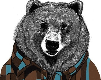 Sid Loves His Flannel Shirt Bear Illustration