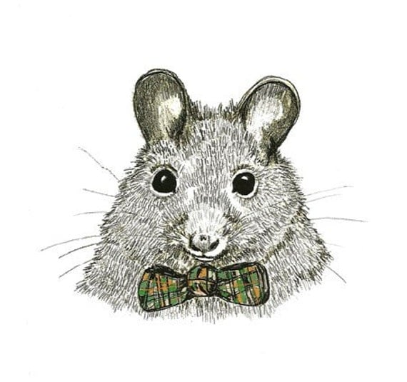 Mice Love Bow Ties  - Mouse Art - Print of Original Mouse Drawing