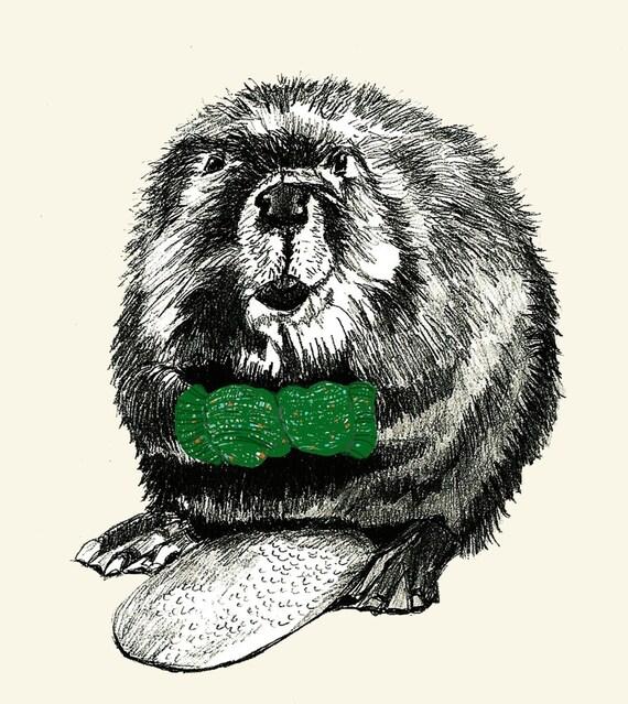 Beavers Love Mittens  -  Beaver Illustration