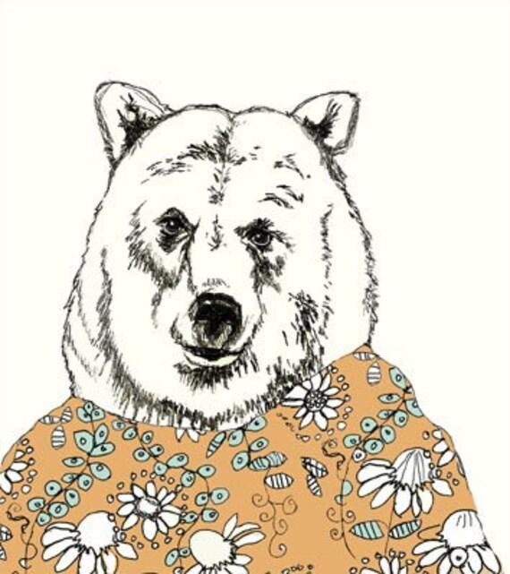 Bears Love Floral Dresses - Bear Art  - Bear Illustration