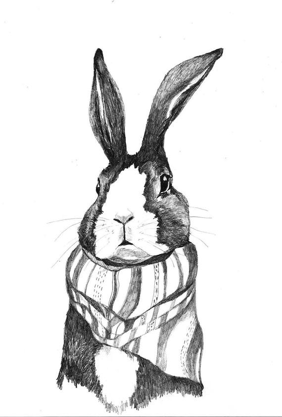 Reserved - Original Drawing - Rabbits Love Scarves - Rabbit Art