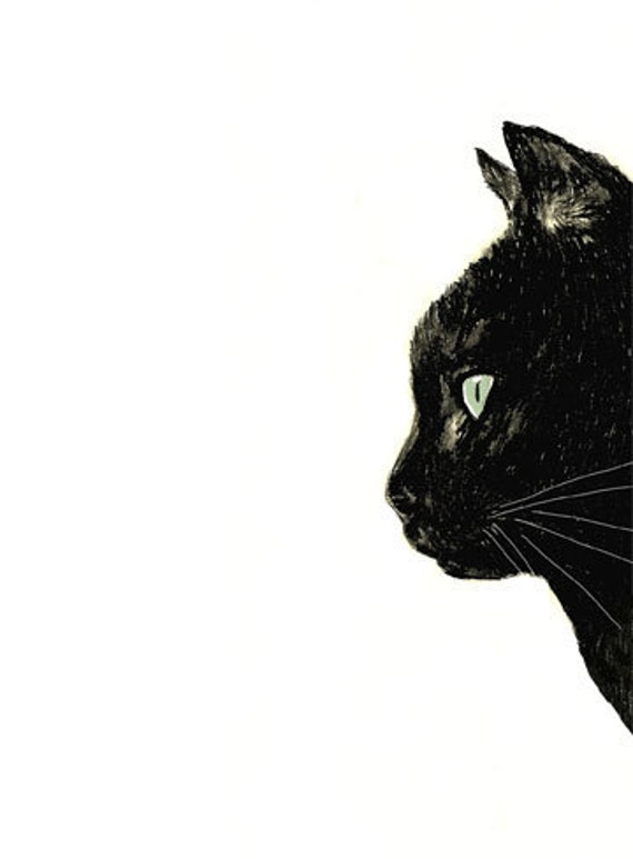 Cat Art - Black Cat with White Whiskers  - Black Cat Decor