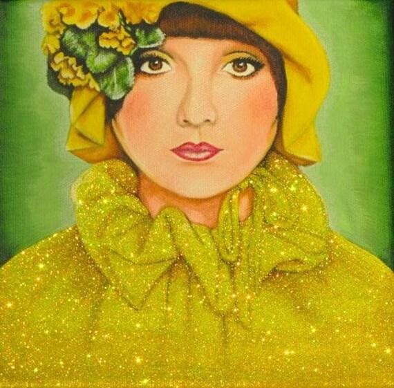 Yellow Glitter Girl Original Painting