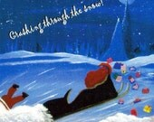 DRUNK SANTA...Crashing through the snow 4x6 Postcard.. Oh no, Has Santa had a little too much holiday cheer..