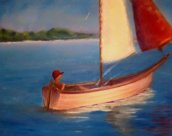 14x11 Sail Boat Painting,Lake Painting,Landscape Sails of Solitude.original oil painting on gallery wrapped canvas..Barbie Baughman
