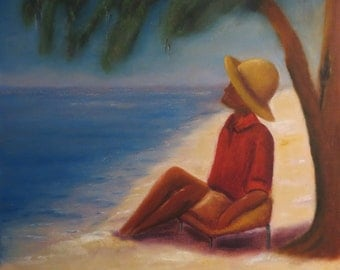 20x20 Caribbean Painting Large canvas Painting Jamaican Original oil painting on gallery wrapped canvas...Barbie Baughman