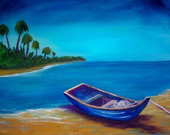 20x16 Blue Heaven..Original Large Acrylic .Barbie Baughman,Boat,Island,Palm trees,Seashore,Surreal,Fantasy,Fishing,row boat,realism,ooak