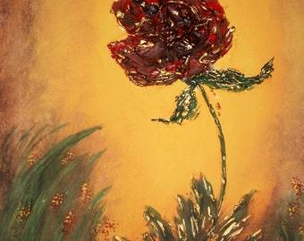 16x20 LARGE sculpted acrylic original on canvasTHE ROSE- red green flower grass landscape gold Barbie Baughman Original