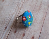Vintage Fabric Button Ring