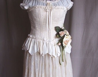 Corset for Wedding or casual wear, of Vintage Damask, with ruffle, back lacing and front hooks