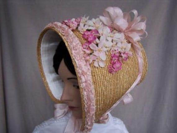1812 - Historical reproduction Bicentennial Straw Poke Bonnet
