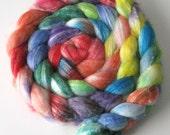 """SW Merino / Bamboo / Nylon Blend Wool Roving (Top) - Handpainted Spinning or Felting Fiber, """"Celeste"""" - 4 ounces"""