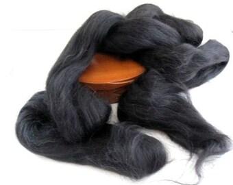Ecru/Undyed/Natural Black Alpaca colored wool roving, spinning fiber - 4 ounces