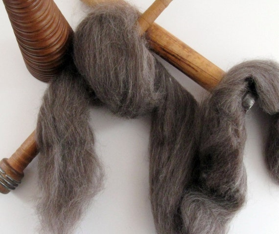 Ecru/Undyed/Natural Black BFL colored wool roving, spinning fiber - 4 ounces