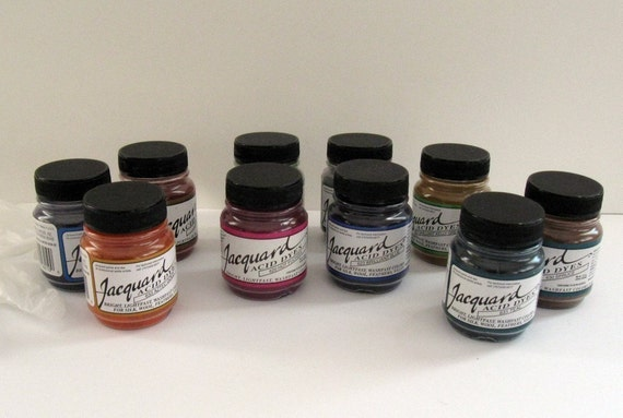Acid Dyes, Jacquard (Kit of Fifteen .5oz jars for protein fibers and most nylons - just use vinegar and heat)