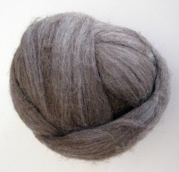 Ecru/Undyed/Natural Dark Merino colored wool roving, spinning fiber - 4 ounces