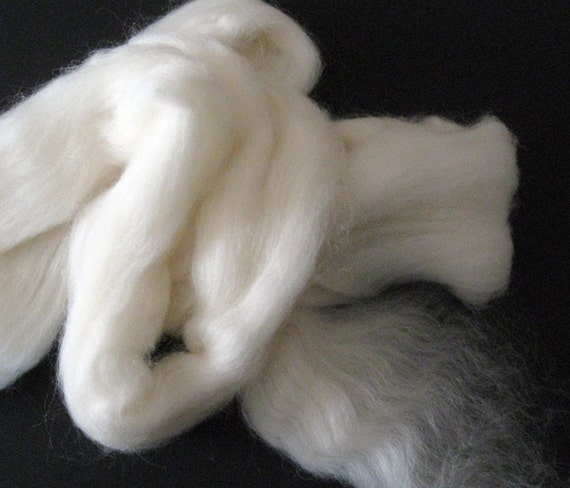 Ecru/Undyed/Natural Shetland wool roving (combed top), spinning fiber - 4 ounces